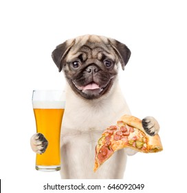 Dog holding pizza and a glass of beer. isolated on white background