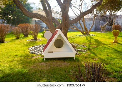 Dog house in the park.