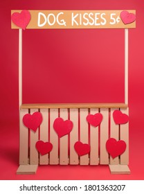 dog kissing booth on an isolated background