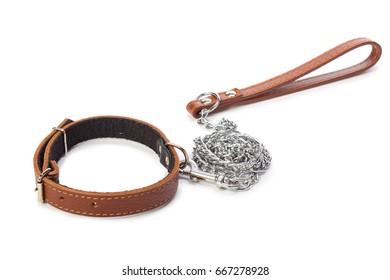 Dog leash isolated on white. close up