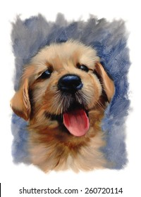 dog lovers lab golden doodle oil painting classic torn edges puppy