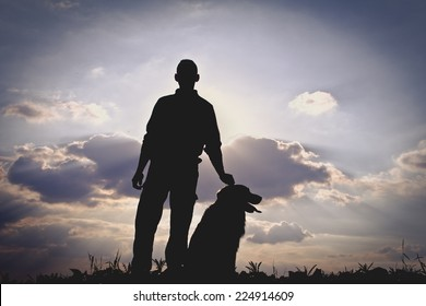 Dog and Man Silhouette