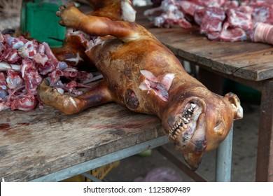 Dog meat sale in a street market in Vietnam.