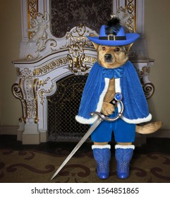 The dog musketeer in a blue cloak, a hat with a feather and boots with a sword is standing near a fireplace in the palace.