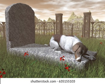 Dog on a tombstone - 3D render