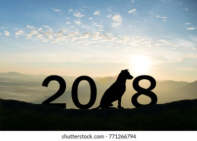 dog over silhouette Happy New Year 2018