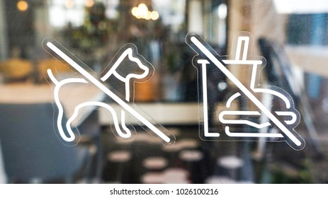 dog , pet , food and drink not allowed bring from outside to restaurant. It is regulation from shopping mall. (Blurred background )