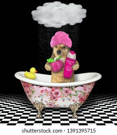 The dog with a pink towel around his head is in the bath painted with flowers. It holds a sponge and shampoo.