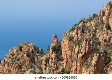 Dog rock at Calanques de Piana, Unesco World heritage site, Corsica, France