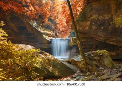 Dog Slaughter Falls in Daniel Boone National Forest, Kentucky, USA. - Shutterstock ID 1864017568