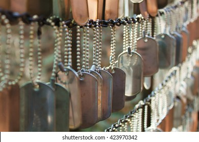 Dog Tags Honoring Fallen Soldiers