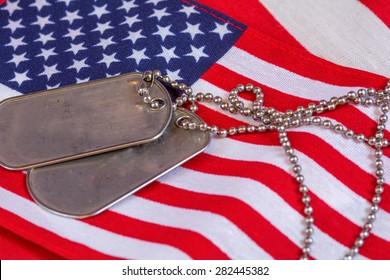Dog Tags on American Flag