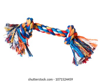 Dog toy - colorful cotton rope for games, isolated on white background with copy space