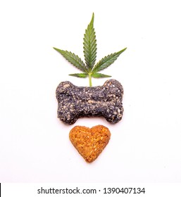 Dog treats and cannabis leaves isolated over white background - CBD and medical marijuana for pets concept