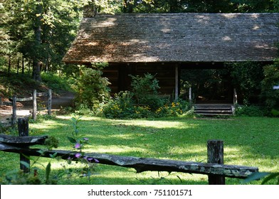 Dog Trot Cabin and Split Rail Fence in Early Fall