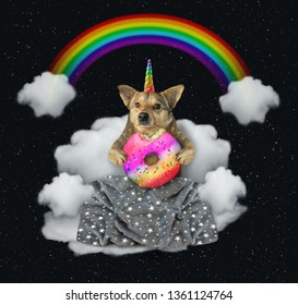 The dog unicorn with a big color donutis sitting on the cloud under the rainbow at night. Stars background.