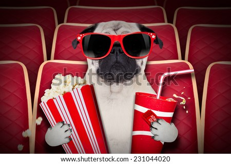 dog watching a movie in a cinema theater, with soda and popcorn wearing glasses