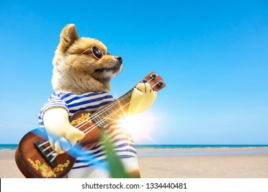Dog wearing sun glasses and guitar on summer vacation at the beach with sunbeams shining