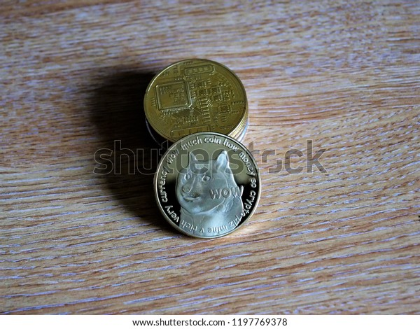 Dogecoin Doge Cryptocurrency Stack Blockchain Stock Photo