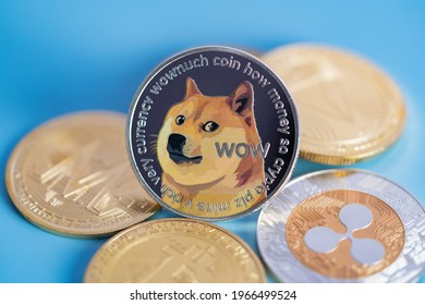 Dogecoin DOGE group included with Cryptocurrency coin bitcoin, Ethereum ETH, Binance Coin, Zcash TRON symbol Virtual blockchain technology future is money concept Close up and Macro photography