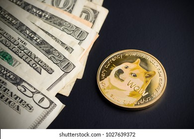 Dogecoin and dollars on black background.