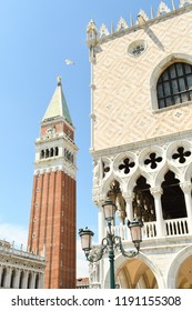 The Doge's Palace and Campanile at St. Mark's Square in Venice, Italy