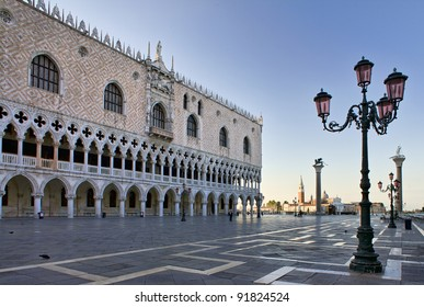 Doge's Palace on San Marco square early in the morning,  Venice, Italy