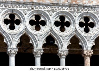 Doge's Palace or Palazzo Ducale, Venice, Italy. It is one of the main tourist attractions in Venice. Detail of Doge's Palace facade close-up. Renaissance architecture of Venice landmark.