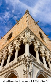 The Doge's Palace in Venice: corner of the facade with angular sculptures. It's a palace built in Venetian Gothic style, Italy (Veneto).