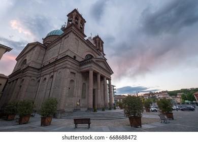 Dogliani Church at sunset