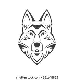 Dog's head symbol on white background