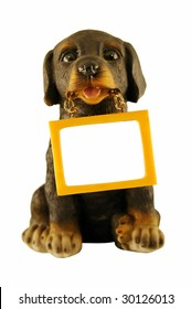 The dog-souvenir holds the tablet in a teeth. A place for an inscription