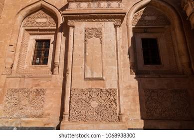 DOGUBAYAZIT - NOVEMBER 29: Detailed work in Ishak Pasha Palace on November 26, 2016 in Dogubayazit, Agri province, Turkey.