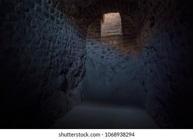 DOGUBAYAZIT - NOVEMBER 29: Prison room in the underground parts of Ishak Pasha Palace on November 26, 2016 in Dogubayazit, Agri province, Turkey.