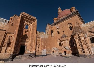 DOGUBAYAZIT - NOVEMBER 29: Second courtyard with entrance to the harem and tomb of Ishak Pasha Palace on November 26, 2016 in Dogubayazit, Agri province, Turkey.