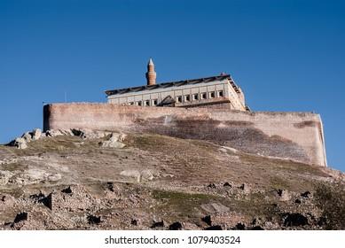 DOGUBAYAZIT / TURKEY - NOVEMBER 27 2016: Ishak Pasha Palace is a semi-ruined palace and administrative complex as seen on November 27, 2016 in Dogubeyazit, Turkey.