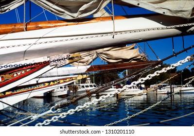 Dogwood Harbor, Tilghman Island, Maryland, USA, Skipjacks docked, October 11, 1997