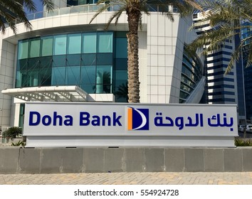 Doha Bank, Doha, Qatar - 2nd January 2017: Sign for Doha Bank in front of its offices in Doha, Qatar