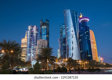 Doha at blue hour, Qatar, Middle East.