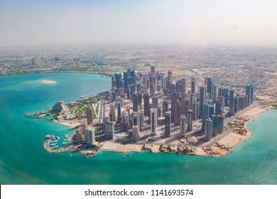 Doha, the capital of Qatar, seen from the air.