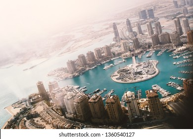 Doha, the capital of the state of Qatar. View from the airplane window
