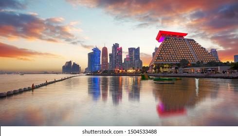Doha city skyline city center after sunset, Qatar
