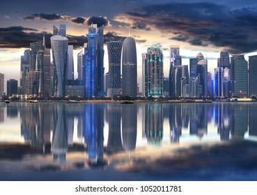 Doha city skyline city center at night, Qatar