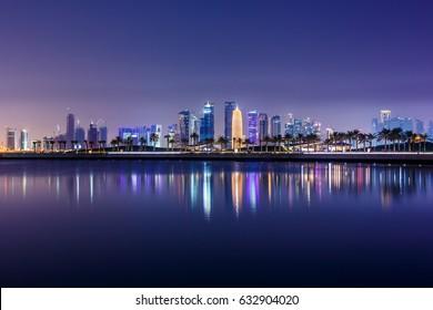 Doha city skyline at night. Qatar, Middle East