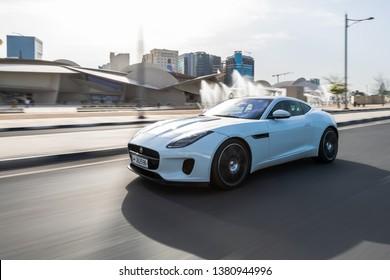 Doha, Doha/Qatar - April 12, 2019 : White Jaguar F-Type P340 front side view