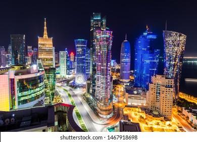 Doha, Doha/Qatar - Aug 01, 2019 : Qatar Skyline in Night Doha Qatar