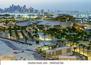Doha, Doha/Qatar - July 07, 2019 : Qatar National Museum Aerial View