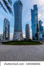 Doha, Doha/Qatar - July 09, 2019: Doha Skyline in early morning, Doha Qatar