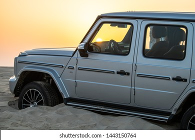 Doha, Doha/Qatar - June 28, 2019: Mercedes G500 Silver Color close side view