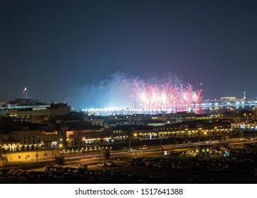 Doha, Doha/Qatar - Sept 27, 2019 : Fireworks in Opening Ceremony of IAAF World Athletics Championships 2019